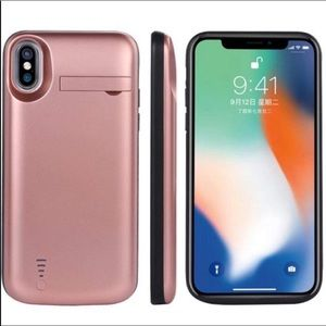 iPhone X battery case Metallic Pink Phone case